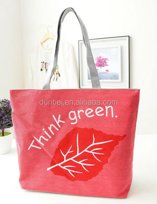 2015 trending hot products Cheap printed leaves customised canvas handbag
