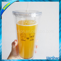 Clear plastic juice bottle hot cold cup with straw