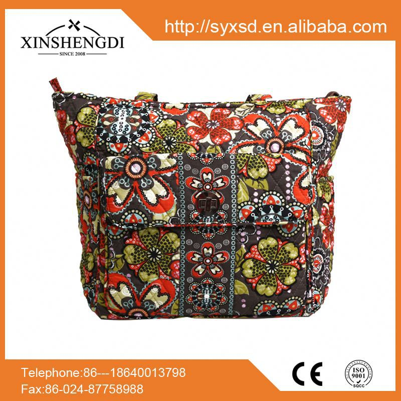 Hot sale cotton bright quilted textile printing travel handbags ladies 2016