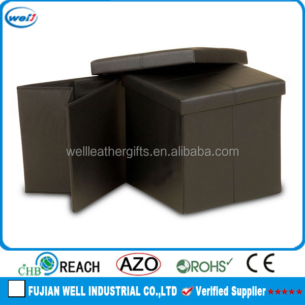 square PU leather ottoman pouf footstool