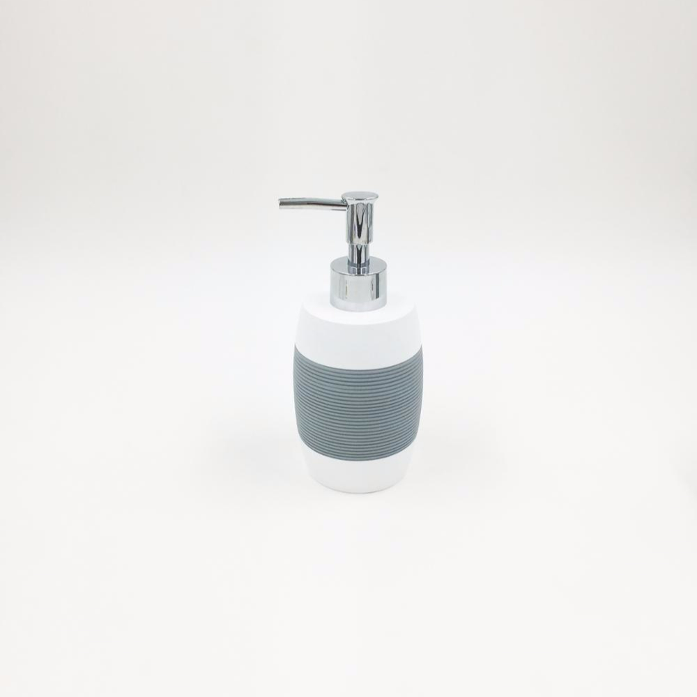Quality Eco-friendly White and Gray Ribbed Barrel Shape Resin Toilet Set for Home and Hotel