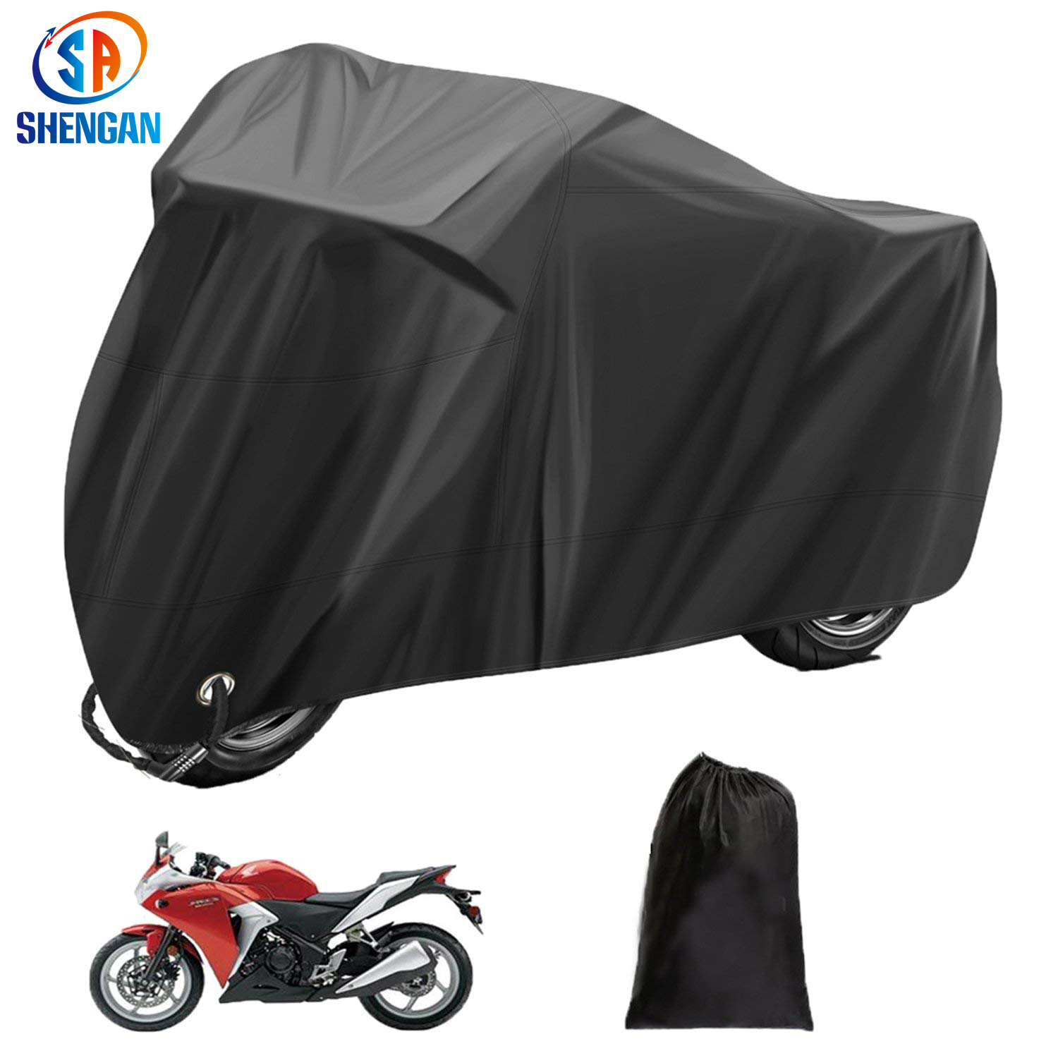 210D polyester waterproof and anti-uv protection black match silver motorcycle cover motorcycle accessories