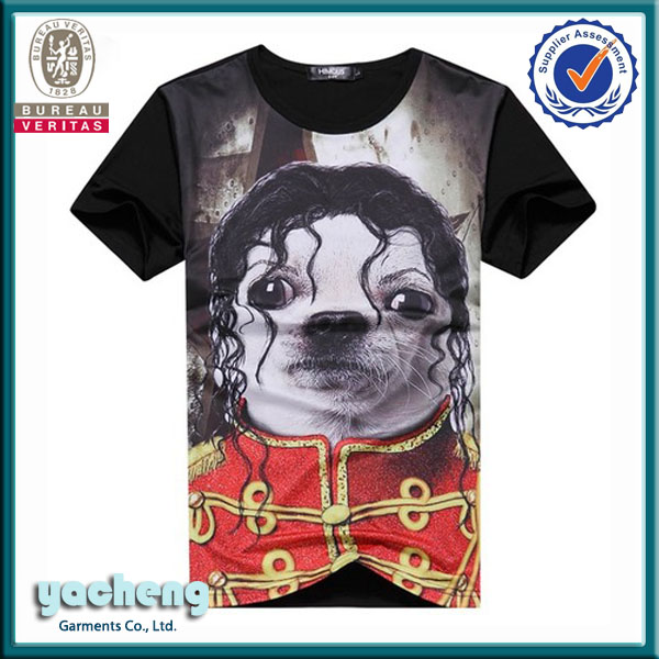 fashionable custom tshirt unisex plus size clothing own factory cheap JK dog sublimation tshirt