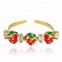 Sweet Strawberry Open Adjustable Rings