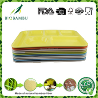 6 compartments customized bamboo fiber fast food mess tray