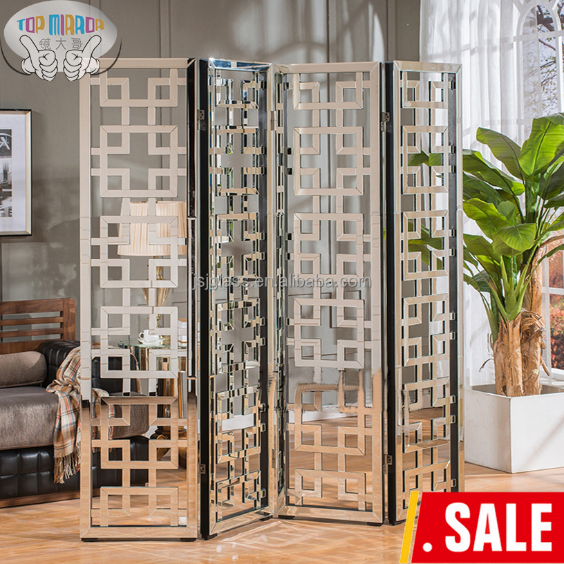 Ji 107a 2016 Chinese Style Living Room Furniture Folding Screen Divider Mirrored