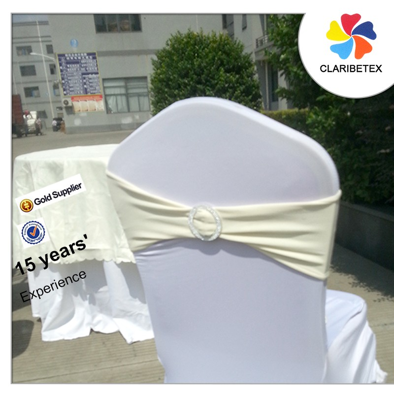 Ivory double layer spandex bow chair band sashes with cheap buckle