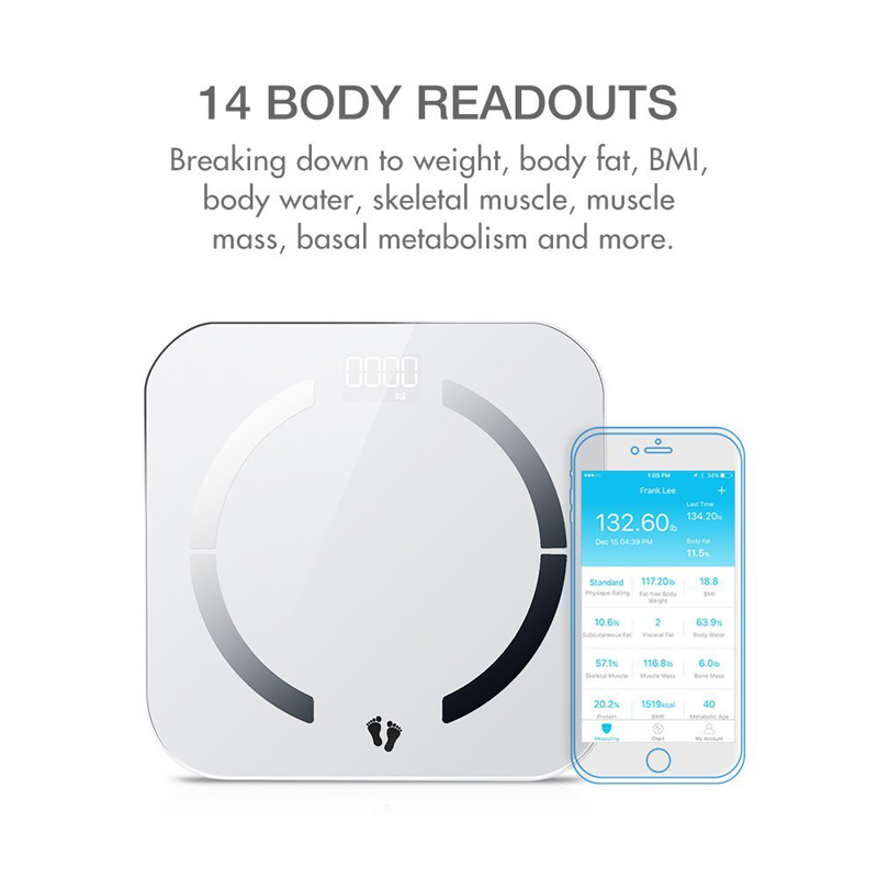 Digital smart wireless bluetooth body fat scale with IOS & Android App to manage body composition