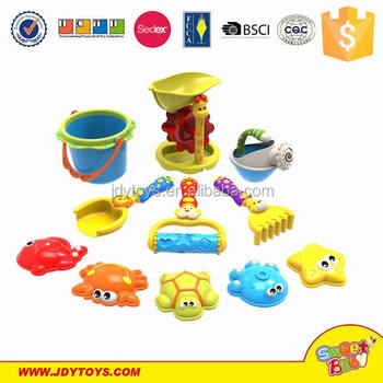 Hot popular 11 PCS high quality colorful plastic sand mold beach play set toy