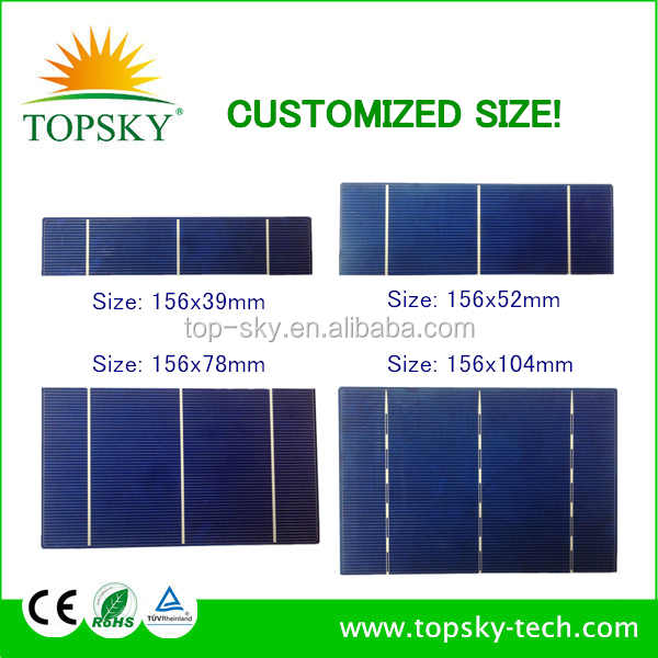 Customized size 156x78 MM 0.5V 2.1W PV broken solar cell,PV solar cell.Broken solar cell