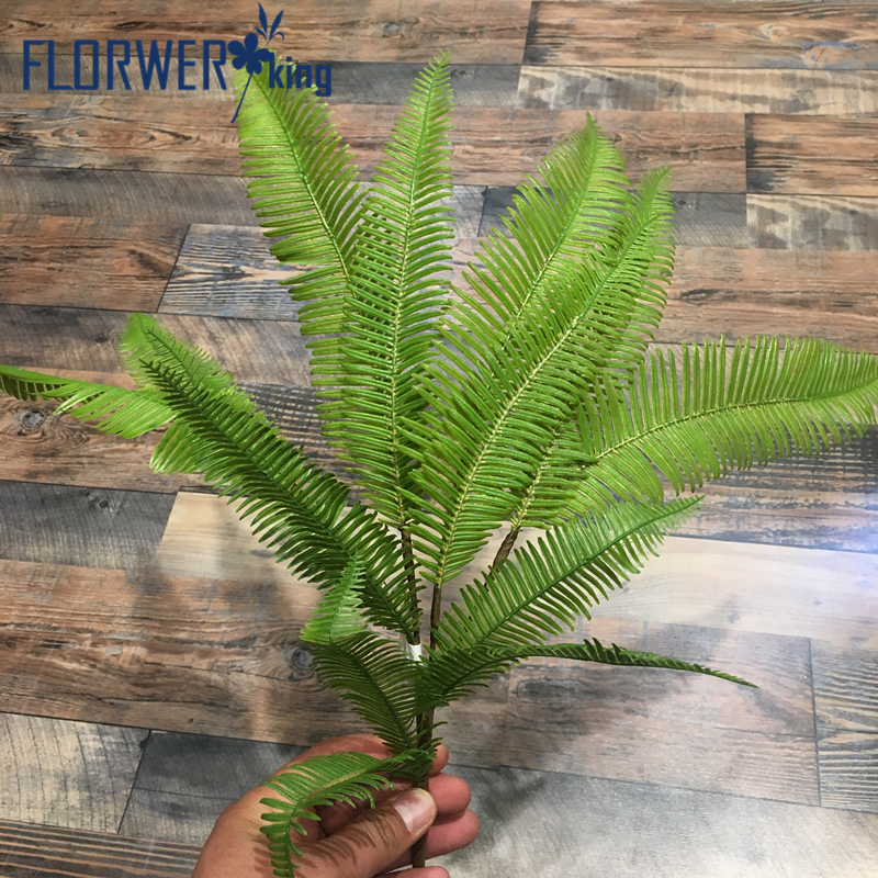 Flowerking Brand factory direct cheap wholesale wall deocr grass artificial fern leaves
