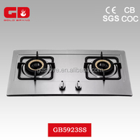 Energy-saving LPG 2 burner gas stove top/ enameled pan support gas cooker with copper burner