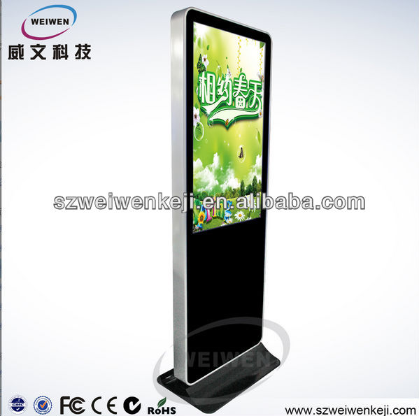 store display 42inch lcd advertising monitor WiFi network metal frame floor display stand kiosko hdmi media player
