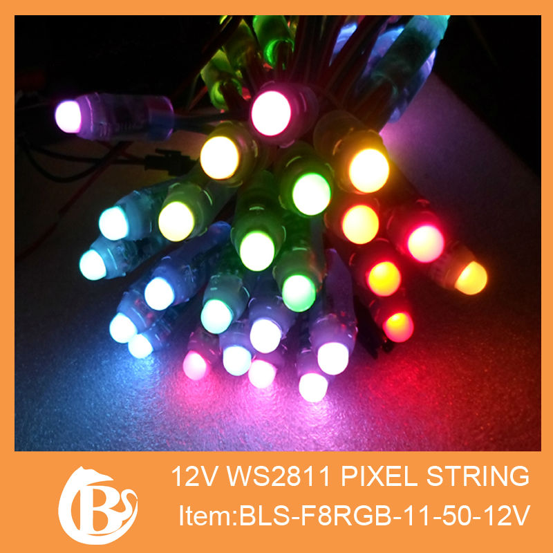 DC12V input 12mm WS2811 pixel node,50pcs a string,IP68 rated, LED module.waterproof, IP68