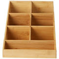 Bamboo Coffee Condiment and Accessories Organizer, 7 Compartments