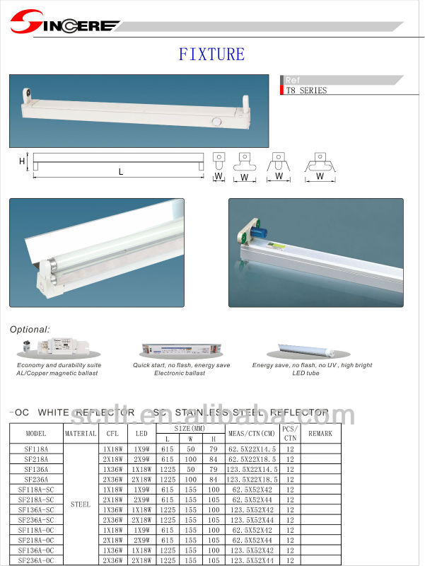 T8 batten reflector t8 fluorescent light fitting