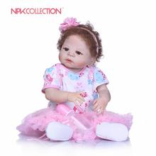 NPKCOLLECTION NewBorn Baby Girl Dolls 55cm Realistic Reborn Dolls Silicone Vinyl Full Body Alive bebe Boneca Reborns Kids Toys