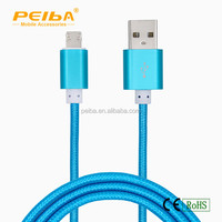 For Samsung for iphone CE ROHS certified 8 pin to 5 pin micro braided sync data charger nylon 2 in 1 USB cable