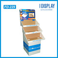 3 tiers advertising Cardboard floor display rack with strong base