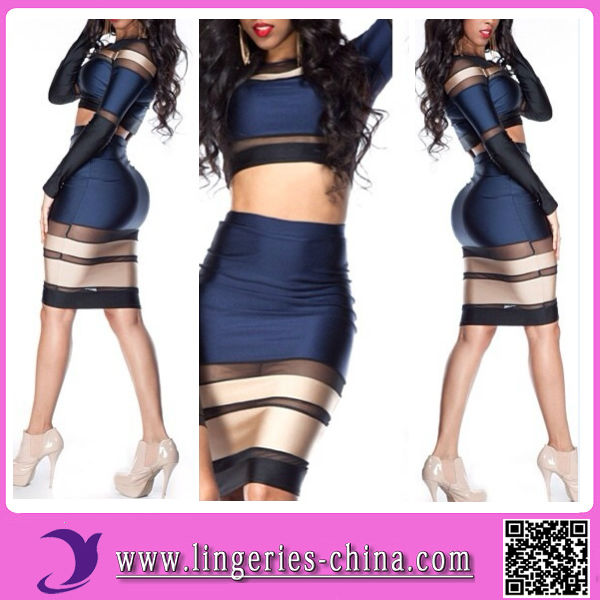 2014 Women Knee Length Black Sexy Party Club Dress