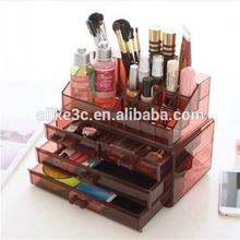 wholesale Acrylic cosmetic drawer/ clear perspex makeup organizer/plexiglass make up storage box