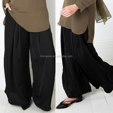 New latest Black Satin Trousers wholesale icing pants muslim pants silver satin cheap black pants
