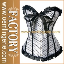 White And Black Cheap Sexy Corsets Polka Dot