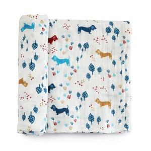 Dachshund Organic Cotton Muslin Swaddle Blankets