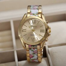 2015 Wholesale Mix 5 Colors Quartz Geneva Floral watch Fashion Stainless Steel Flower Printing watches Women Dress Watch