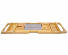 Bamboo bathtub tray with extending sides and storage box