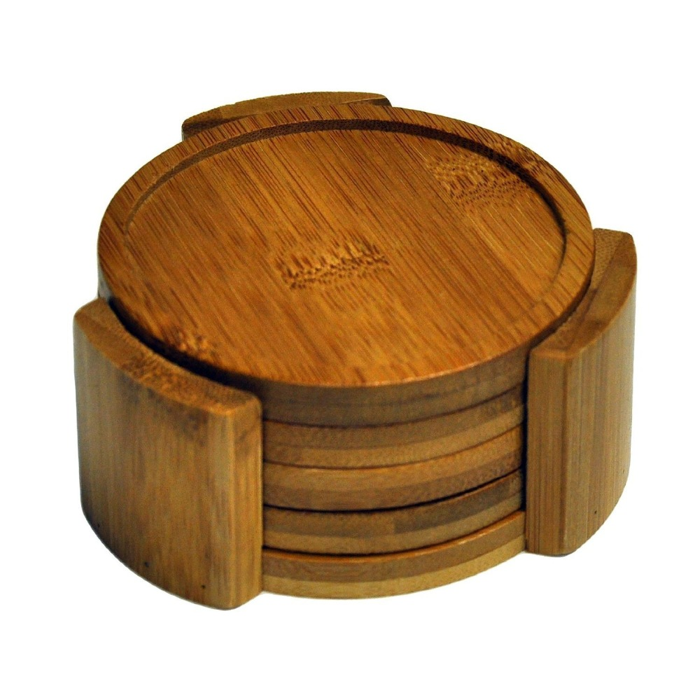 set of 4 bamboo wood coaster with holder