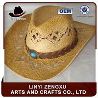 OEM mat straw knitted outdoor flat brimmed folding cowboy hat
