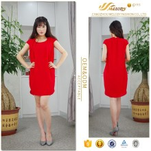 New collection dark red one piece round neckline stylish looser waist ladies smart casual dress