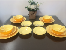 20pcs yellow color colletion bulk melamine dinner set wholesale for india market