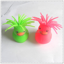 China import toys qimeng mini tpr small flashing duck customized animals with led lights inside