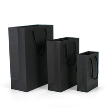 2019 China Well Made Customized Ribbon Handle Stand Up Black <strong>Paper</strong> Bag With Logo Printing
