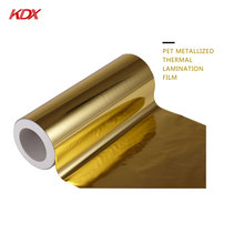 Wholesale Polyester Laminating Plastic Film Supply 25 mic Gold Metalized PET Lamination Rolls Film