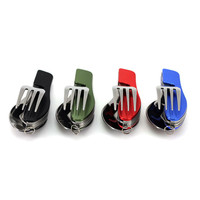 Portable 3 in 1 Stainless Steel Folding Spoon Fork Knife Tableware for Outdoor Camping Picnic Travel