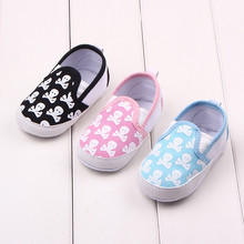 Toddler Baby Shoes Cool Skull Printed Simple Style First Walking Baby Girl Shoes