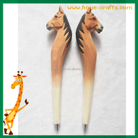 Stationery wood pen animal wood carving pen wood burning pen horse shape