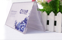 V shape table advertising stand /acrylic table label holder /plexiglass desk label display with paper insert