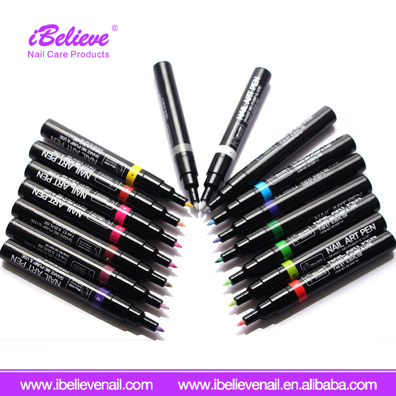Cheap Factory Supply Fashion 3D Drawing Nail Art Pen With 16 Colors