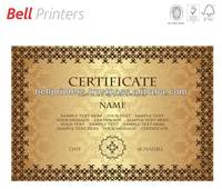 Gold foiled digitally printed certificate from India