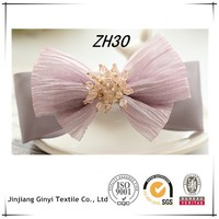 Purple Chiffon Ribbon Hair Bow For Long Hair Alligator Hair Clips