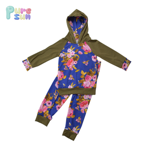 High quality boutique fall wear girls flower printed hoodie and pants long sleeve outfits USA