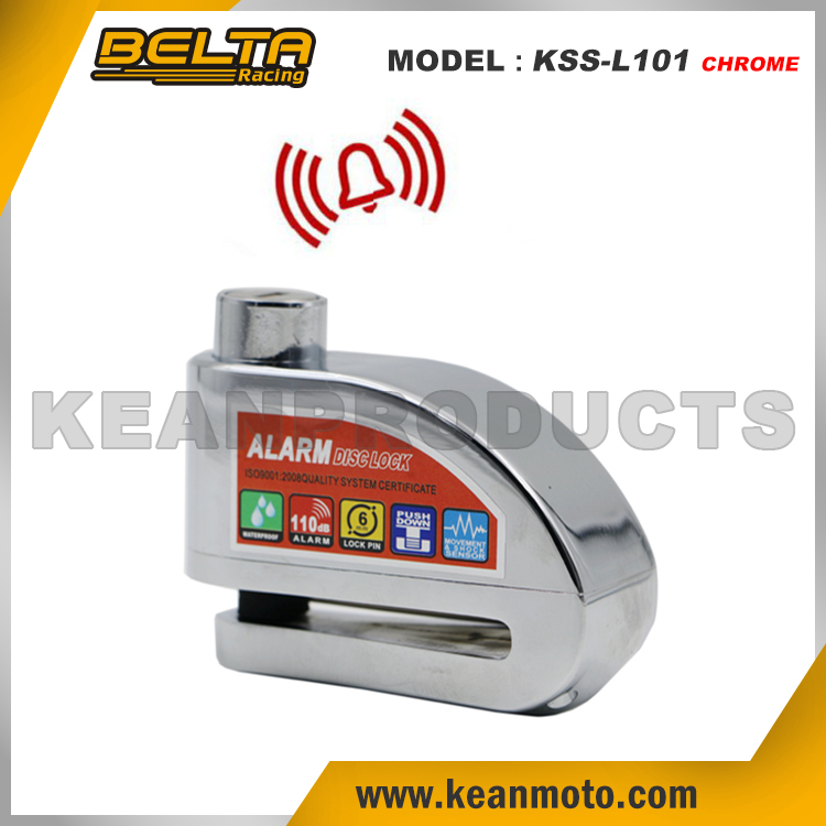 Security Protect Anti-theft Universal Zinc Alloy Motorcycle Chrome Alarm Brake Disc Lock KSS-L101 Chrome