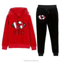 Newest Fashion Women's Red and Black Tracksuits Bulk Sale