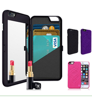 Mirror Design with Credit Card Slot PC Wallet Flip Cover Protective Case for iPhone 6 & iPhone 6S