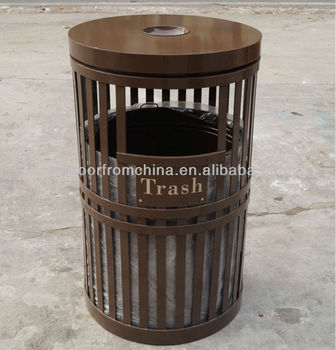 Outdoor street steel trash receptacle/ steel trash can/ outdoor trash can/ outdoor trash receptacle/ US outdoor dustbin