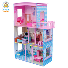 TD015 Lovely Triple Storey Wooden Doll House With 15 Sets Miniature Furniture, Easy-Assembly Wooden Toys